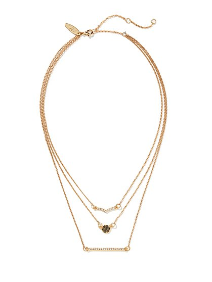 Pave Double-Bar & Disk Necklace  - New York & Company