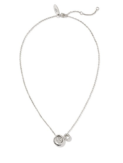 Pave Double Circle Necklace  - New York & Company