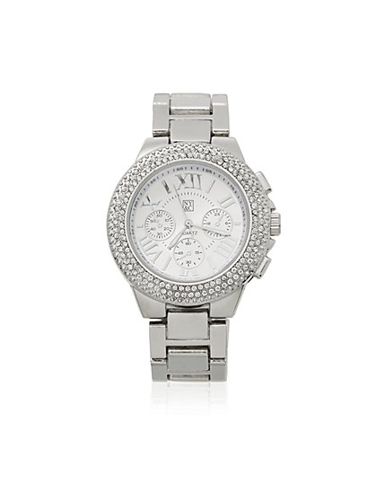 Pave-Face Metallic Watch