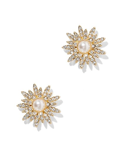 Pave & Faux-Pearl Floral Post Earring  - New York & Company