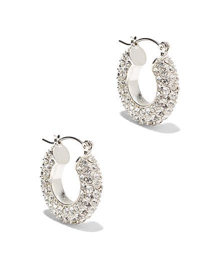 Pave Glass Accent Hoop Earring  - New York & Company