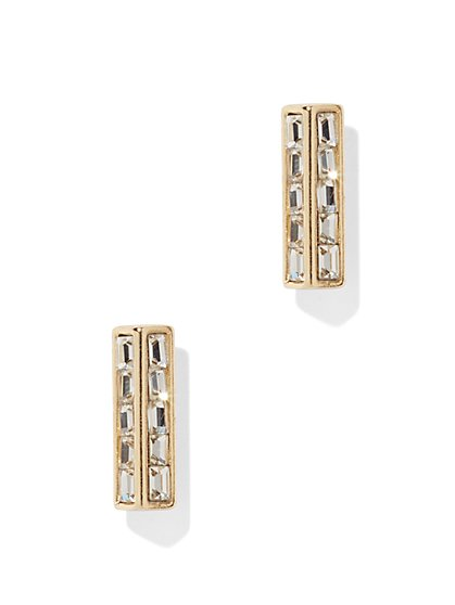 Pave Glass-Accent Linear Post Earring  - New York & Company