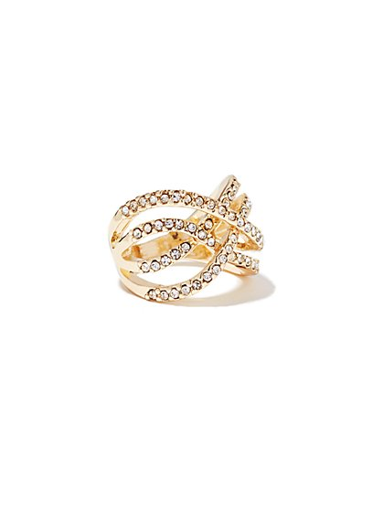 Pave Glass-Accent Open-Work Ring  - New York & Company