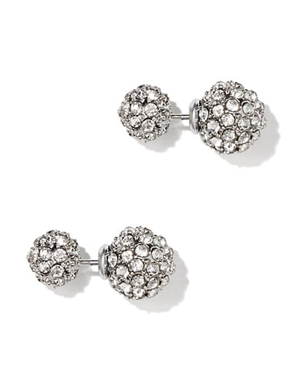 Pave Glass-Accent Sphere Post Earring  - New York & Company
