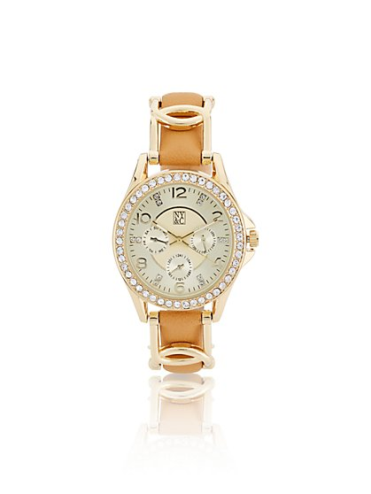 Pave Goldtone Twist Band Watch  - New York & Company