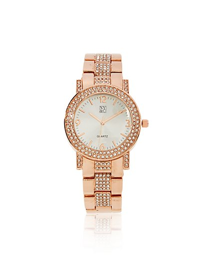 Pave Metallic Links Watch  - New York & Company