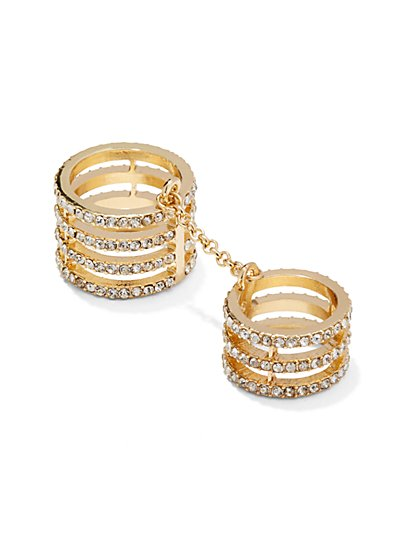 Pave Multi-Band Two-Finger Chain Ring   - New York & Company