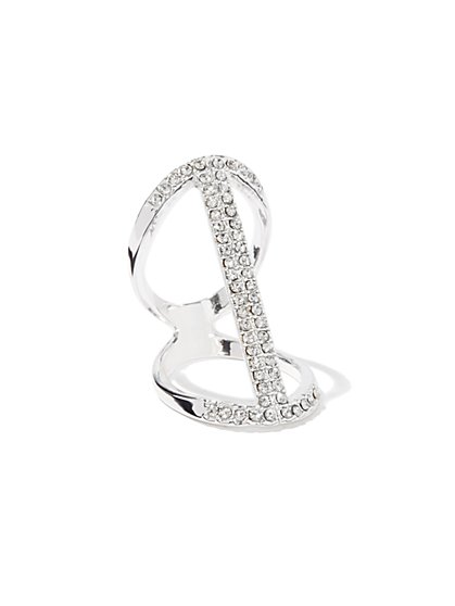 Pave Open-Metal Knuckle Ring - New York & Company