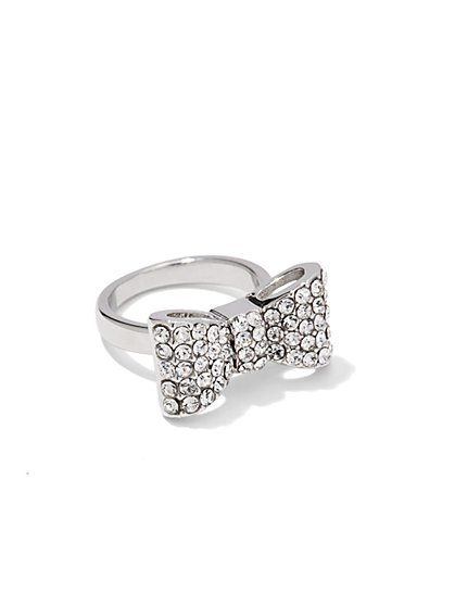 Pave Silvertone Bow Ring  - New York & Company