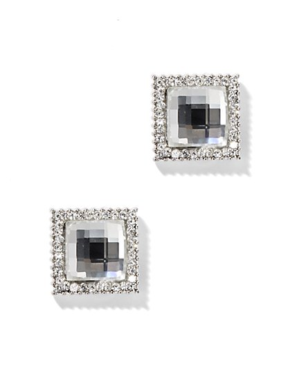Pave Square Stud Earring - New York & Company