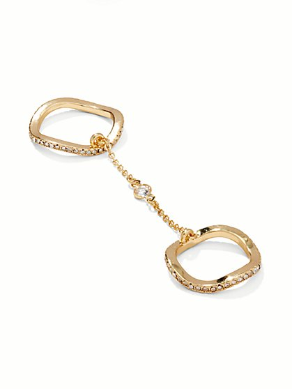 Pave Two-Finger Chain Ring  - New York & Company