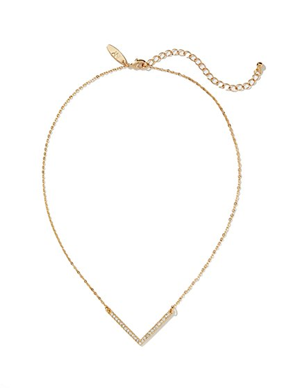 Pave V-Shaped Necklace  - New York & Company