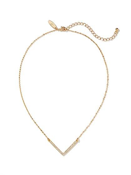 Pave V-Shaped Necklace  - New York & Company