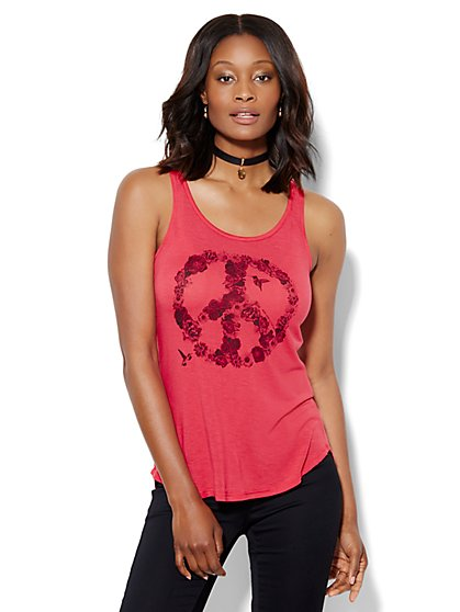 Peace Sign Graphic Tank Top  - New York & Company