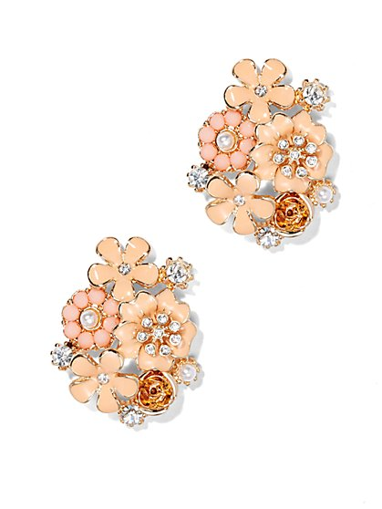 Peach Floral-Cluster Earring  - New York & Company