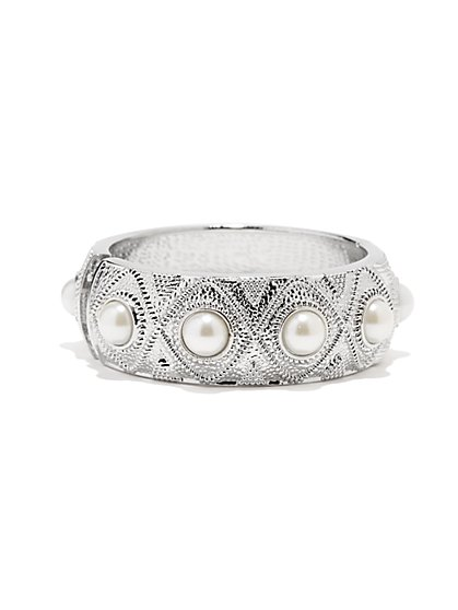 Pearl Beaded Textured Bracelet - New York & Company