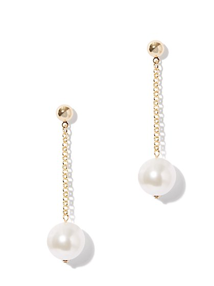 Pearl & Chain Drop Earring - New York & Company