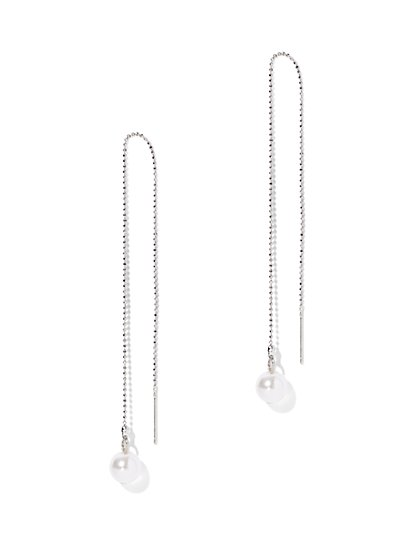 Pearl & Chain Linear Earring  - New York & Company