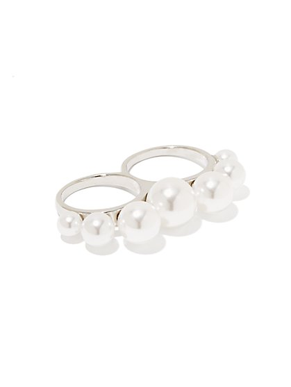 Pearl Double-Finger Ring - New York & Company