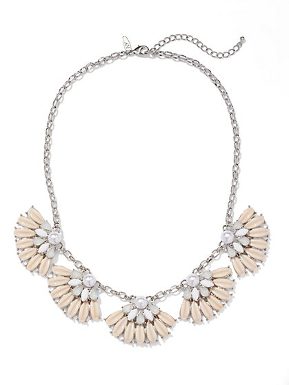 Pearl & Fan Bib Necklace  - New York & Company