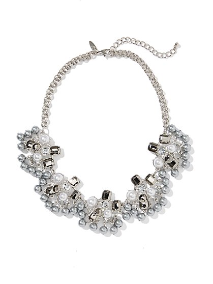 Pearl & Faux Stones Fan Necklace - New York & Company