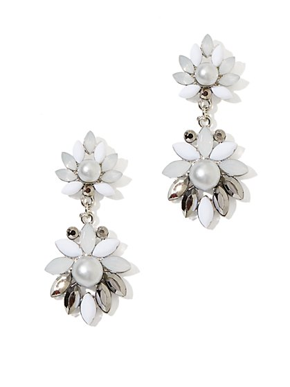 Pearl Floral Drop Earring - New York & Company