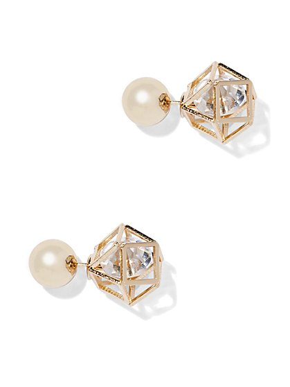 Pearl Front/Back Earring  - New York & Company