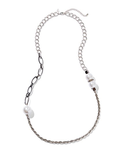 Pearl & Mixed Link Necklace - New York & Company