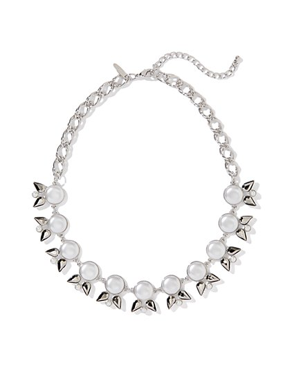 Pearl & Teardrop Bows Necklace