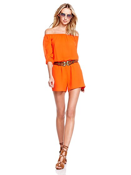 Peasant Romper - Solid  - New York & Company