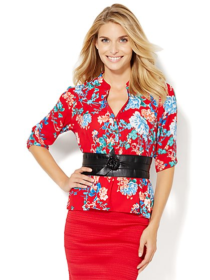 Peplum Blouse - Floral  - New York & Company