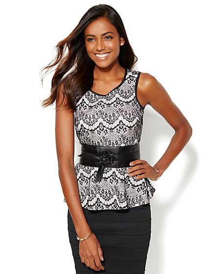Peplum Halter Top - Lace Overlay  - New York & Company