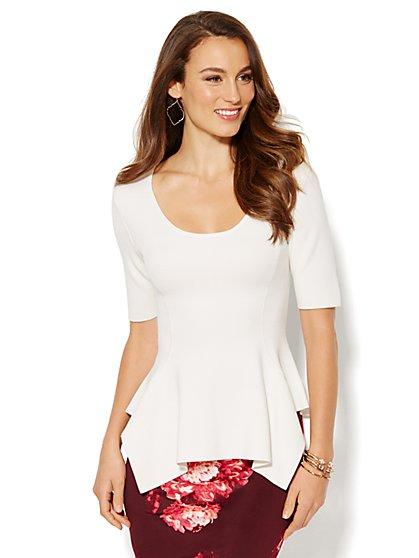 Peplum Sharkbite Sweater  - New York & Company