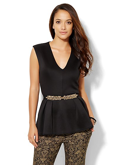 Peplum V-Neck Top  - New York & Company