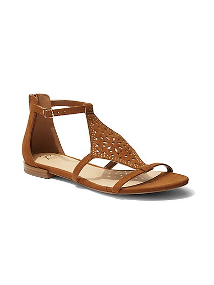 Perforated Ankle-Strap Sandal  - New York & Company