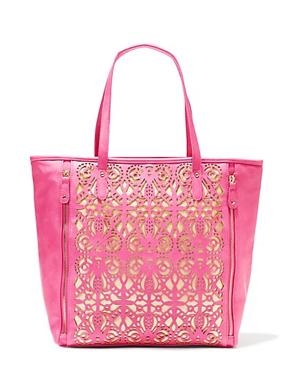 Perforated Faux-Leather Tote
