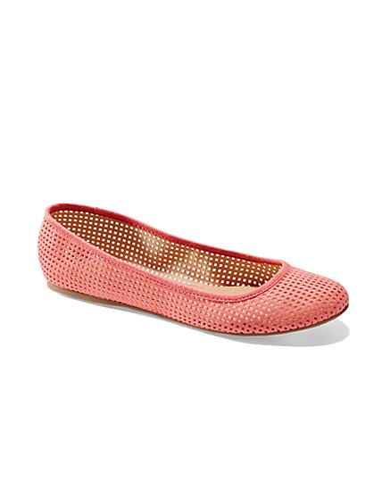 Perforated Faux-Suede Ballet Flat  - New York & Company
