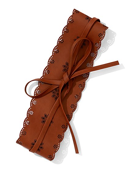 Perforated Floral Obi Belt  - New York & Company