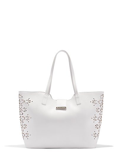 Perforated Lace Tote   - New York & Company