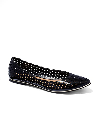 Perforated Pointed-Toe Flat  - New York & Company