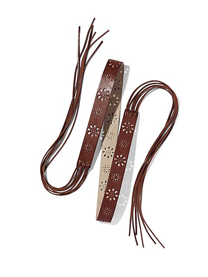 Perforated Tassel Belt - Brown  - New York & Company