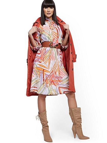 Petite Balloon-Sleeve Pleated Dress - New York & Company