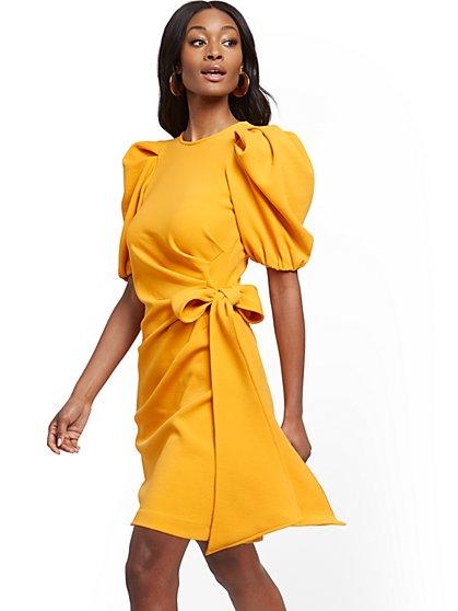 Petite Bow-Accent Pleated Sheath Dress - New York & Company