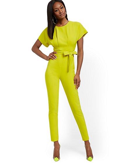 Petite Chartreuse Dolman Jumpsuit - New York & Company
