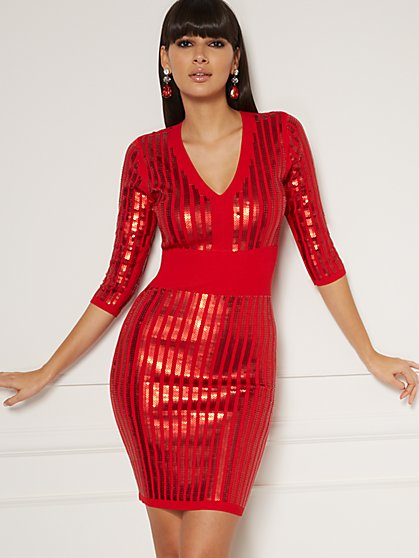 Petite Christal Sequin Sweater Dress - Eva Mendes Collection - New York & Company