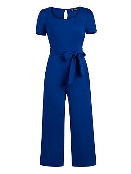 Petite Cotton Knit Culotte Jumpsuit - New York & Company
