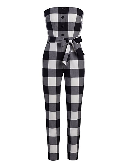Petite Gingham Strapless Jumpsuit - New York & Company