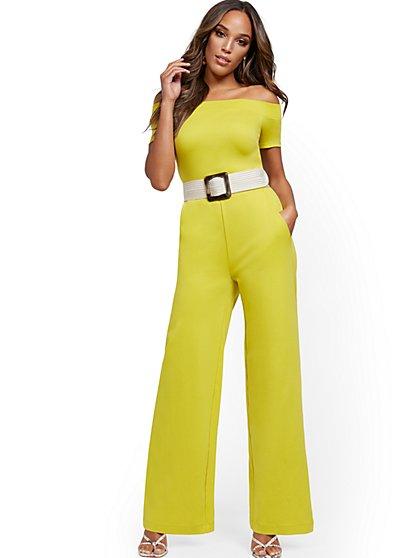 Petite Off-The-Shoulder Cotton Jumpsuit - New York & Company
