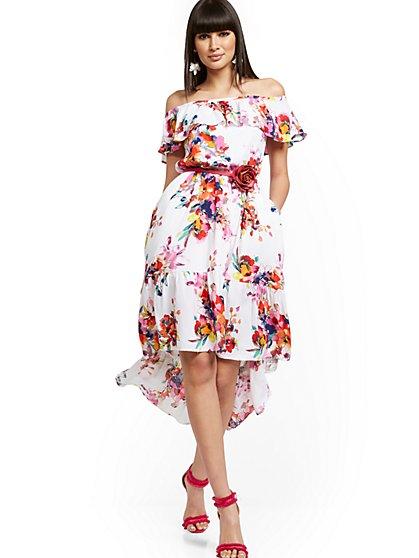 Petite Off-The-Shoulder Hi-Lo Maxi Dress - New York & Company