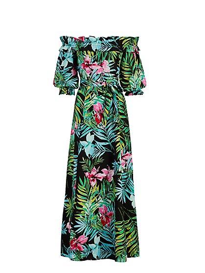 Petite Off-The-Shoulder Poplin Maxi Dress - New York & Company
